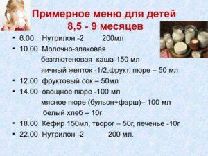 Рацион питания ребенка в 8 месяцев таблица на искусственном вскармливании