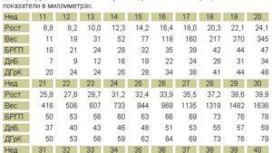 Размеры плода на 20 неделе беременности по узи таблица