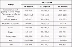 Фетометрия плода на 33 неделе беременности