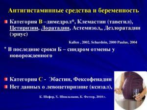 Антигистаминные препараты при беременности 1 триместр