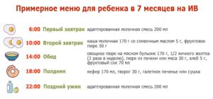 Примерное меню 7 месячного ребенка на искусственном вскармливании