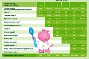 Прикорм в 5 месяцев на искусственном вскармливании таблица прикорма